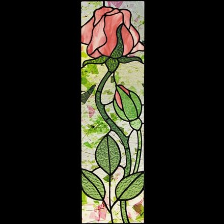 Single Tall Rose Stained Glass Pattern Floral Stained Glass Custom Stained Glass Patterns For Sale