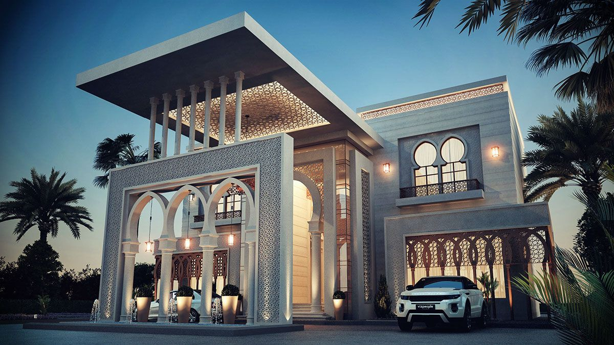Saudi villa rendering google search islamic villa for Classic architecture homes