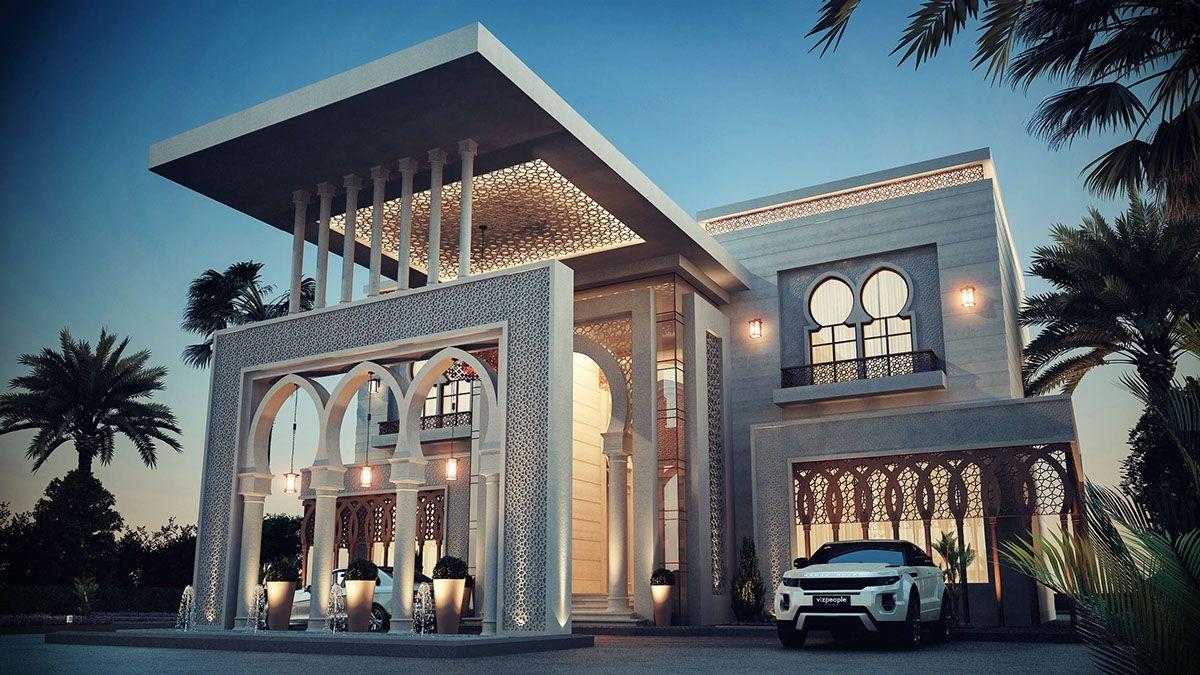 Saudi villa rendering google search islamic villa pinterest house design architecture for Villa style moderne