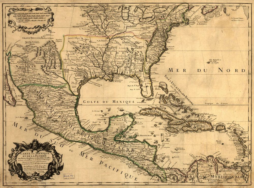 1703 United States of America, Mexico, Antique Map, vintage ... on united states map poster, united states map color, united states map 1860,