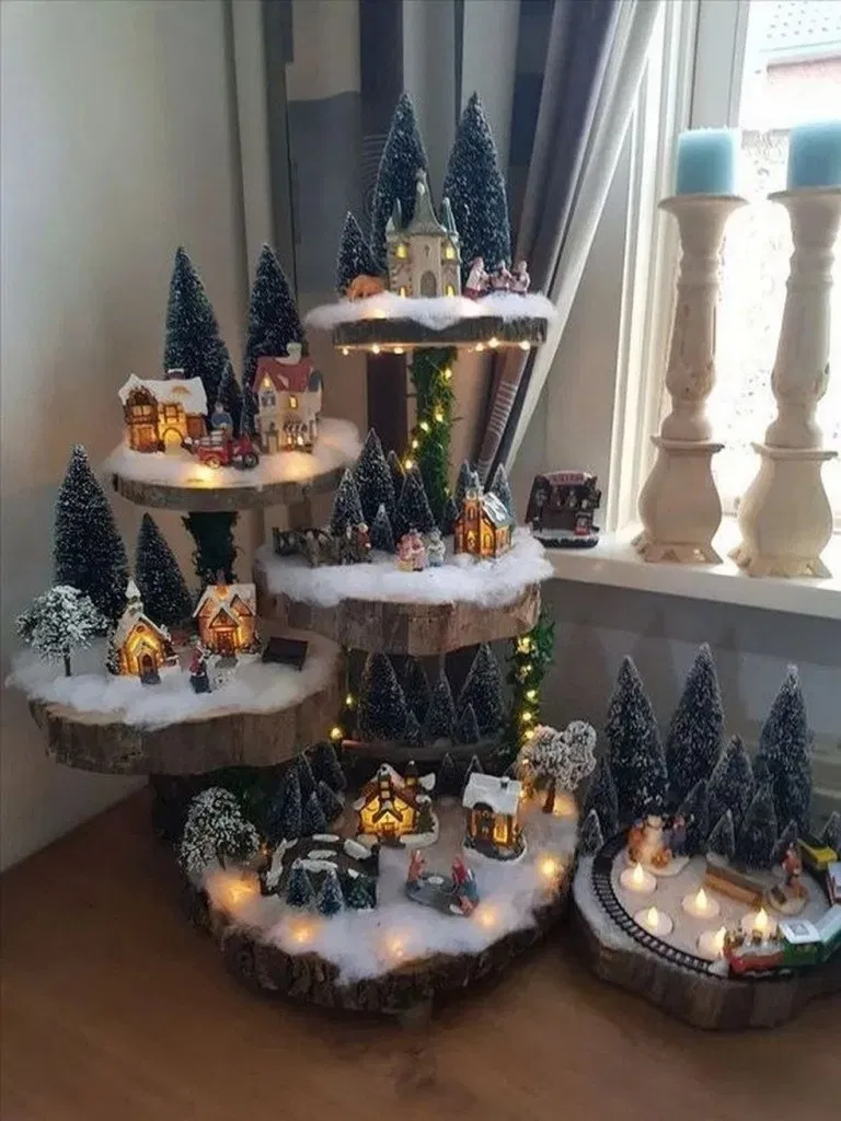 73 Christmas Centerpiece Ideas To Decorate With This Year Inspira Christmas Centerpieces Christmas Tree Village Christmas Decor Diy