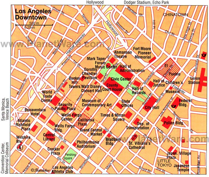 Los Angeles Downtown Map Tourist Attractions LA Holiday