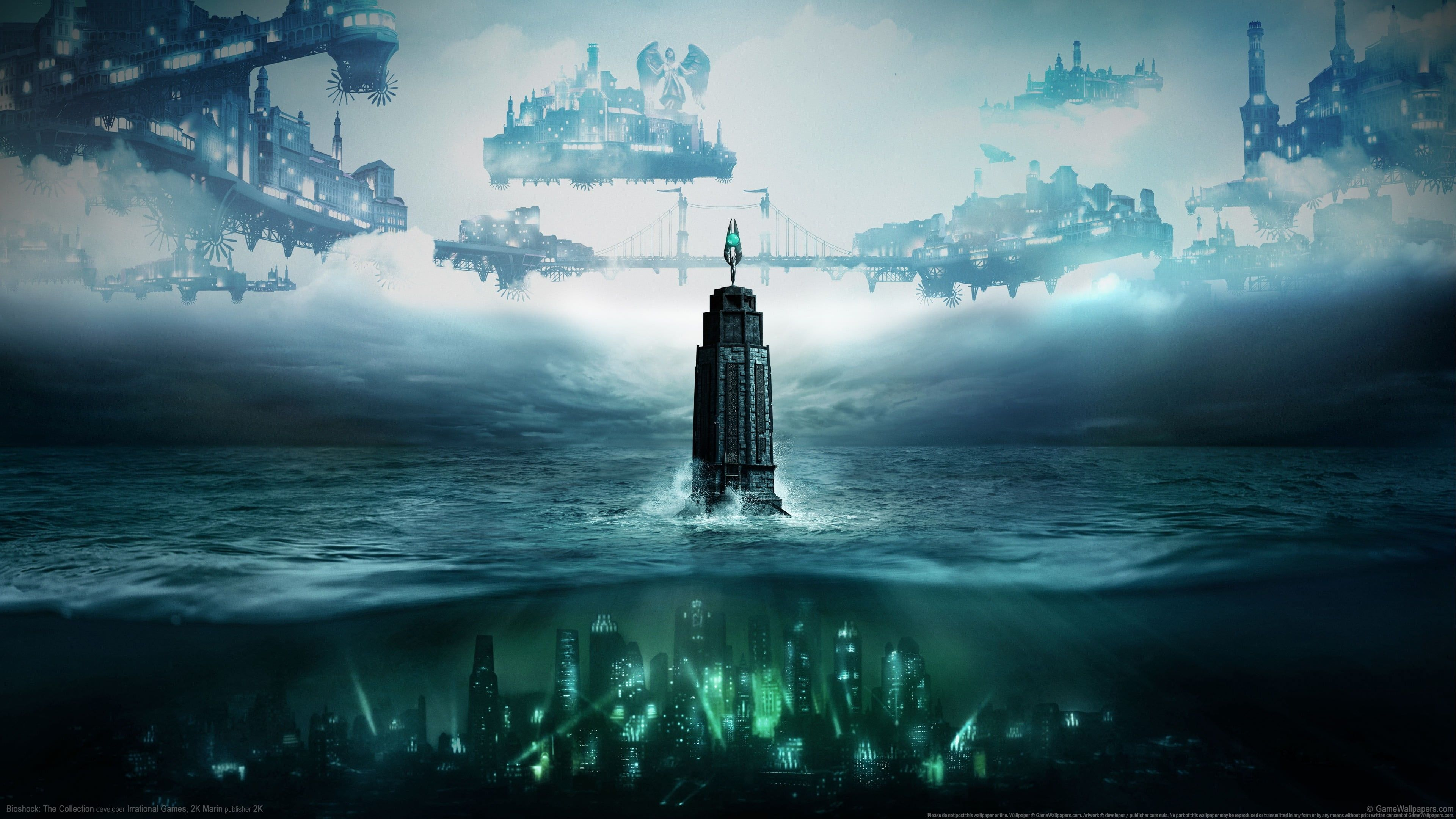 Underwater City And Aircrafts Digital Wallpaper Bioshock Tower Columbia Video Games 4k Wallpaper Hdwallpaper In 2020 Bioshock Bioshock Game Bioshock Collection