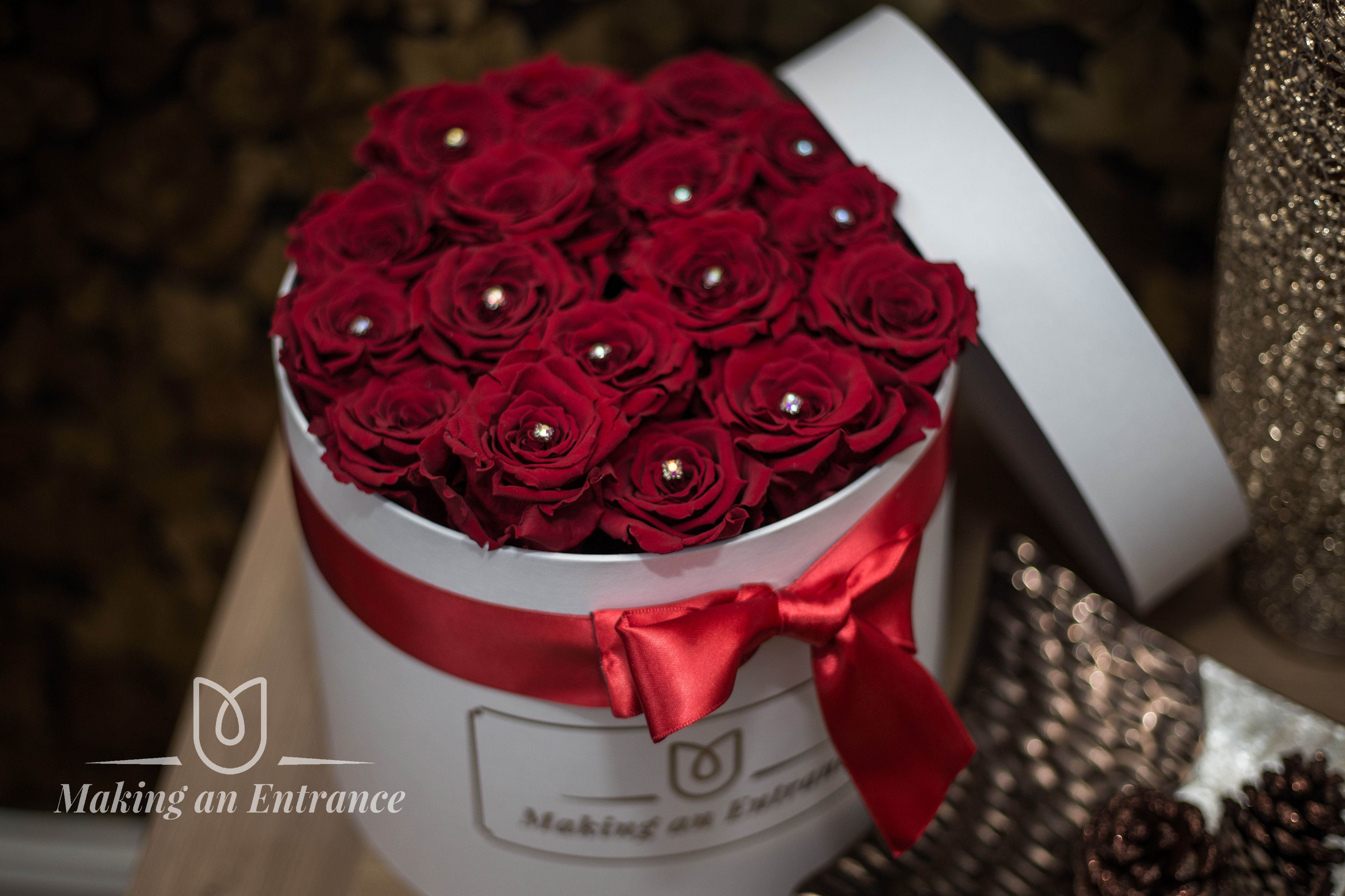 Large Round Gift Box With Medium Infinity Preserved Red Roses This Rose Is Also Known