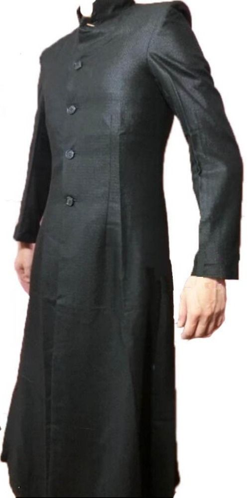 Matrix Neo Keanu Reeves Full Length Wool Trench Coat