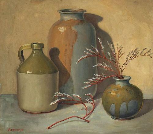stilllifequickheart:    Irene Hilda Anderson  Still Life with Pottery  1960