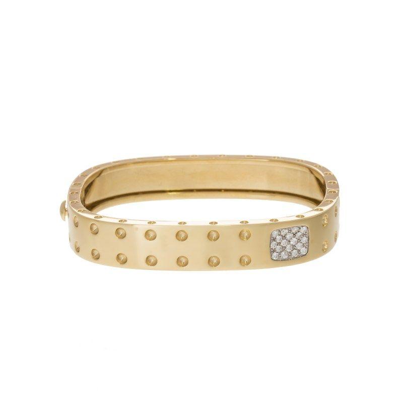Roberto Coin Pois Moi Collection 18k Gold Diamond Bangle
