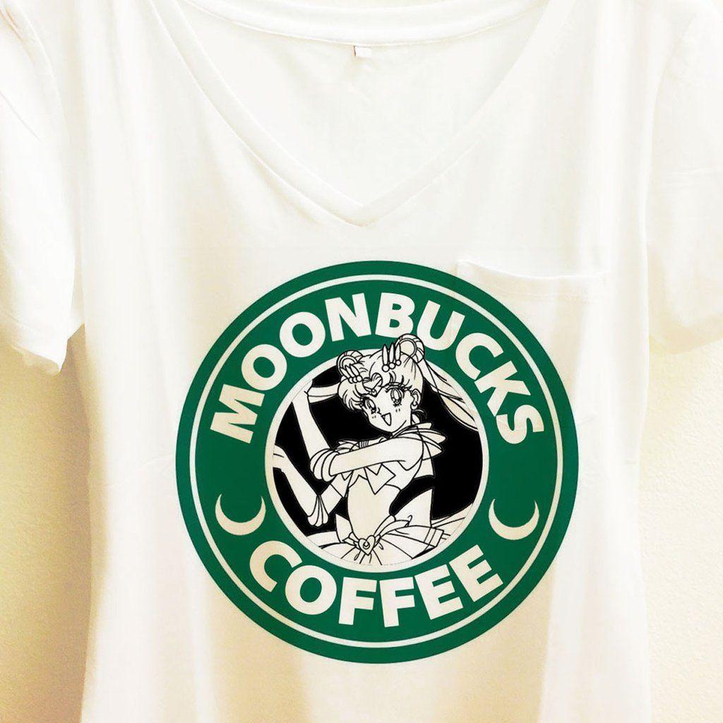 "Sailor Moon's ""Moonbucks Coffee"" Choice of★Crewneck shirt"