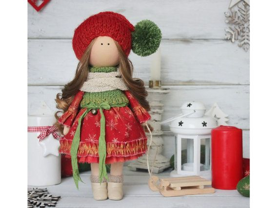 New year doll, red, green colors, Tilda doll, Christmas doll, Baby doll, Collectable doll, Art doll by Master Margarita Hilko