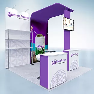 10x10 Tension Fabric Trade Show Exhibit Display Booths With Images Acrylic Countertops Trade Show Exhibit Fabric Display