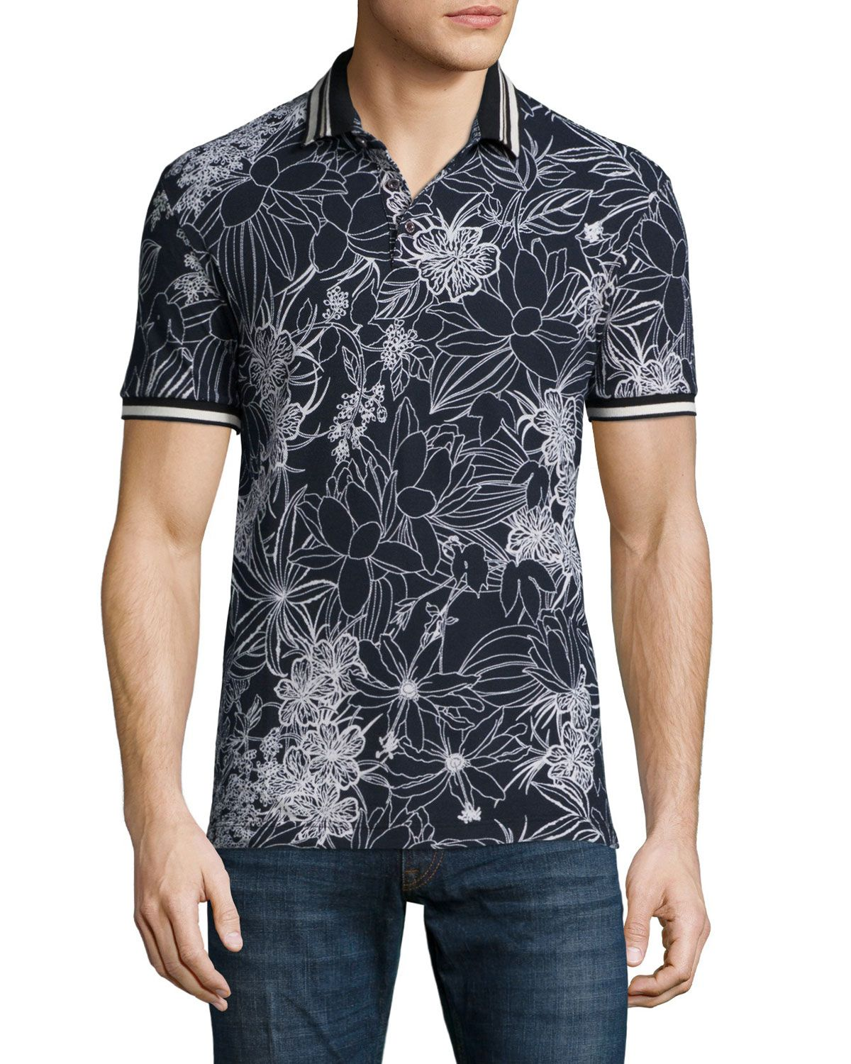 770b0326d3 Floral-Print Short-Sleeve Pique Polo Shirt, Black/White, Men's, Size: XL -  Etro