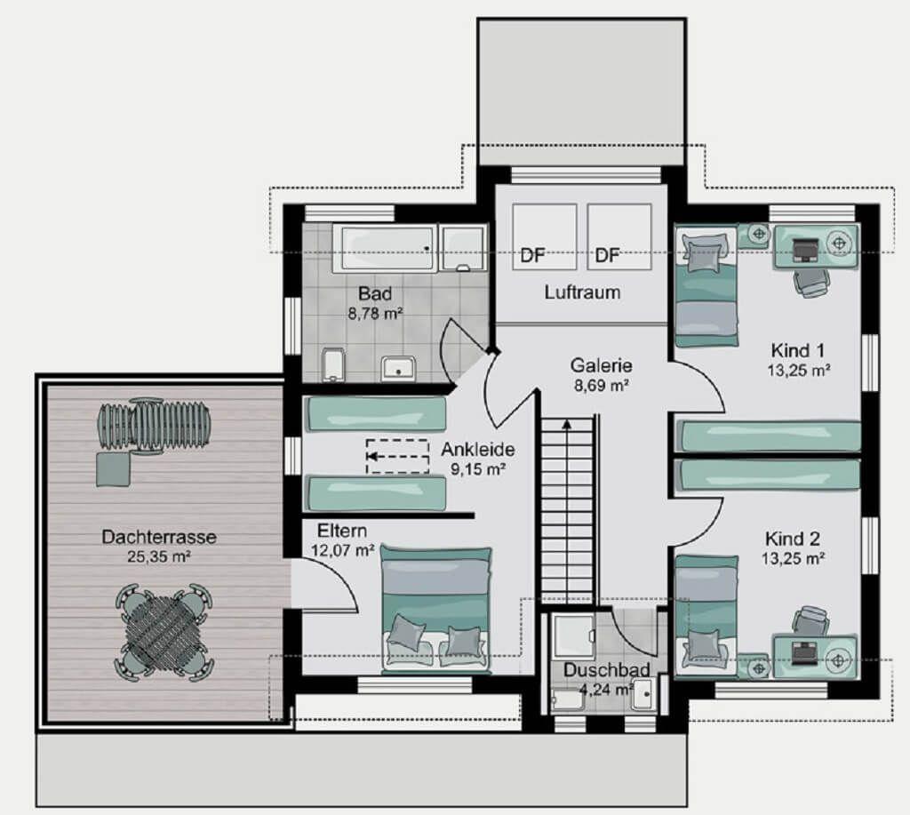 grundriss einfamilienhaus mit garage haus koeln von streif haus grundriss dachgeschoss. Black Bedroom Furniture Sets. Home Design Ideas
