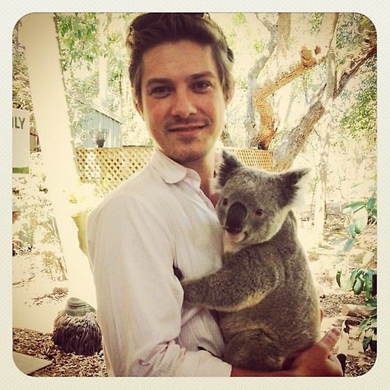 Taylor Hanson loving on a koala. Of only I could be reincarnated!