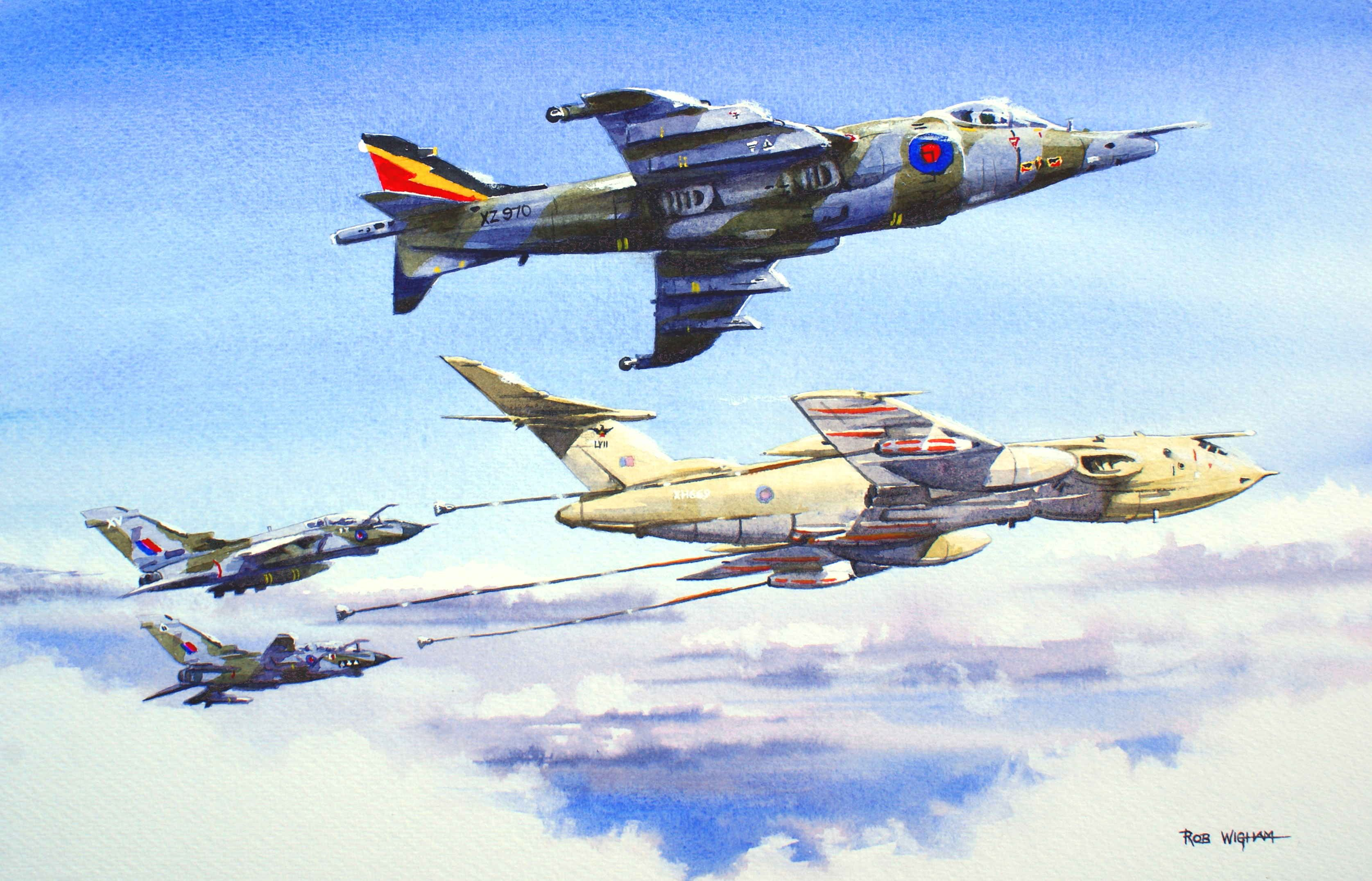 Gassing Up Watercolour 52 X 35 Cm A Victor B2 Of 57 Sqn Tanks