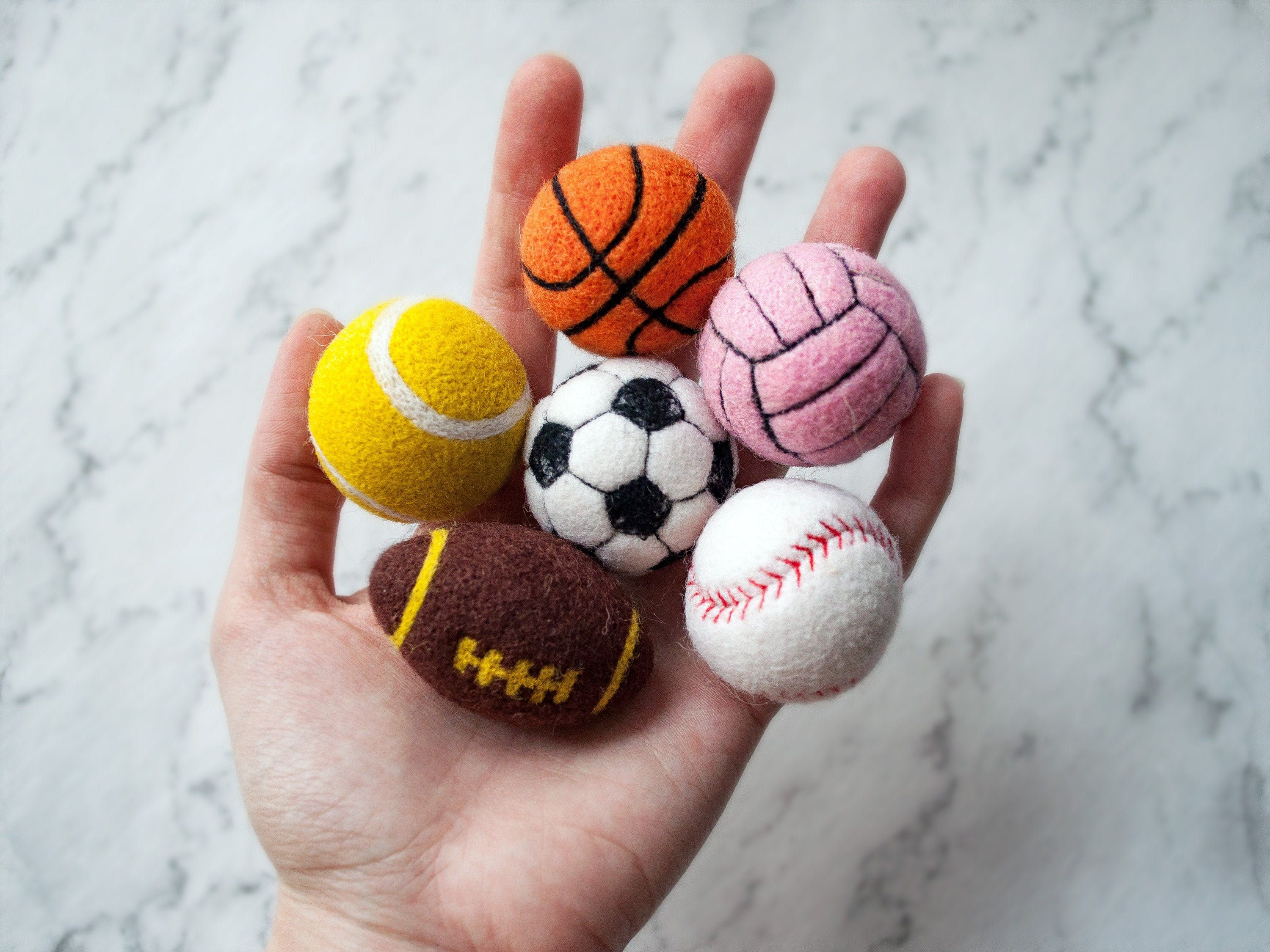 Sports Balls Cat Toys 1 7 Inch Felted Wool Balls Football Volleyball Rugby Basketball Tennis Baseball Billiard Fan Lucky 8 Valyanie Sport