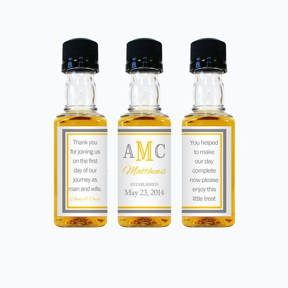 Custom Mini Liquor Bottle Labels Wedding Favors Thank You Rum Vodka ...