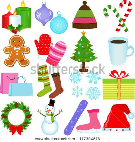 A Set of Cute Vector Icons  Winter / Christmas Theme - stock vector