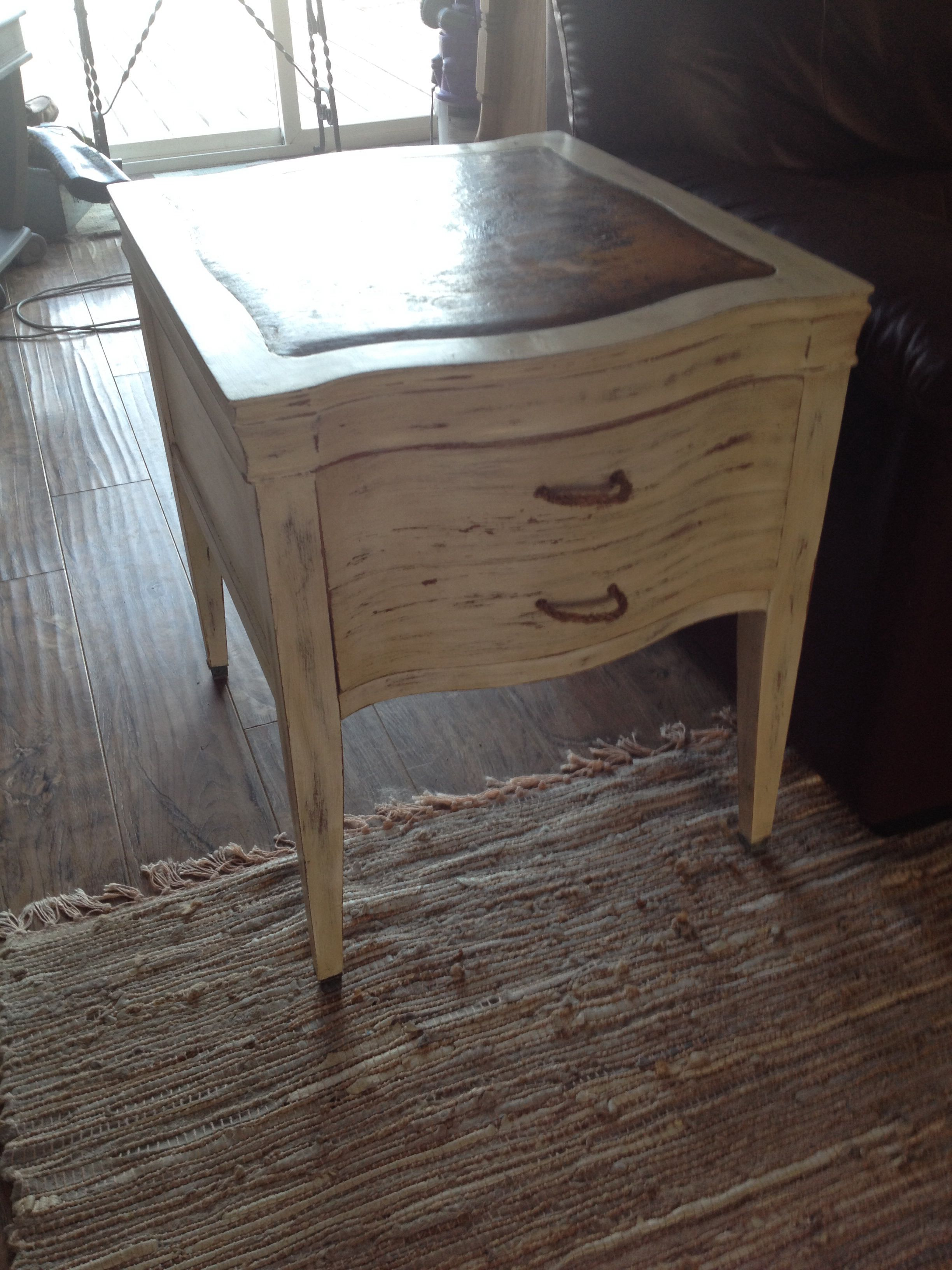 Chalk Painted Old White Leather Top End Table Duncan