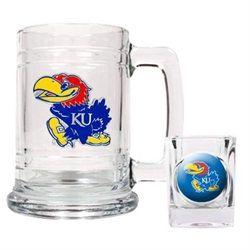Kansas Jayhawks KU Beer Mug & Shot Glass Set