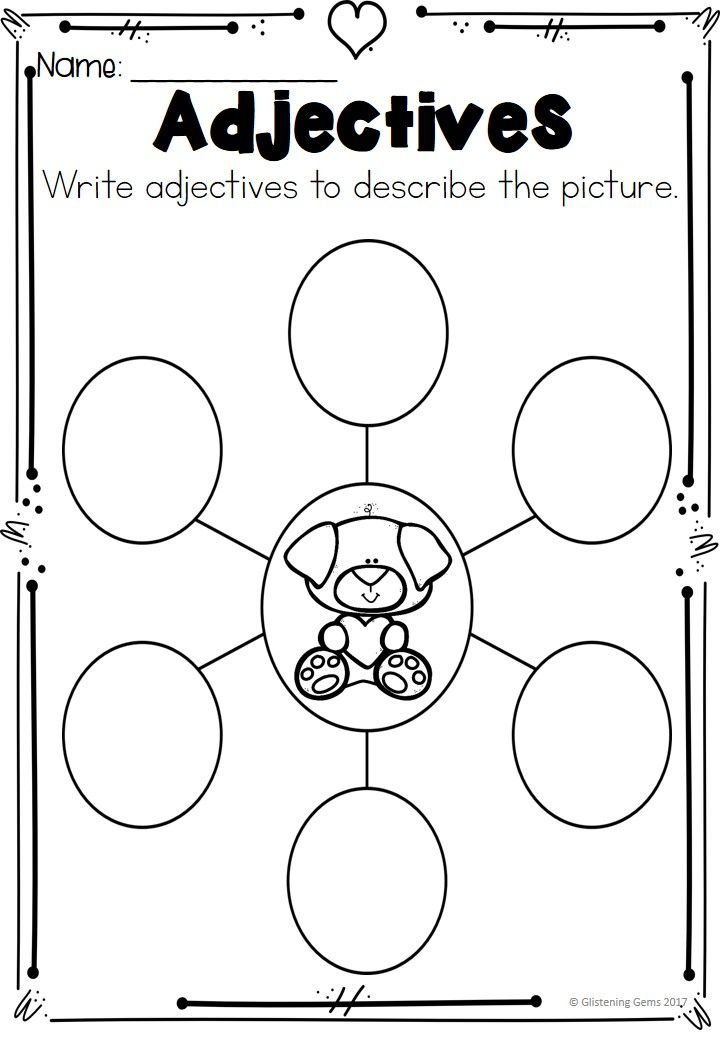 Valentine's Day Adjectives Printables & Worksheets