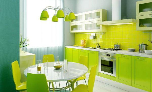 Une cuisine en vert fluo : On ose ? | Vert fluo, Cuisine verte et Fluo