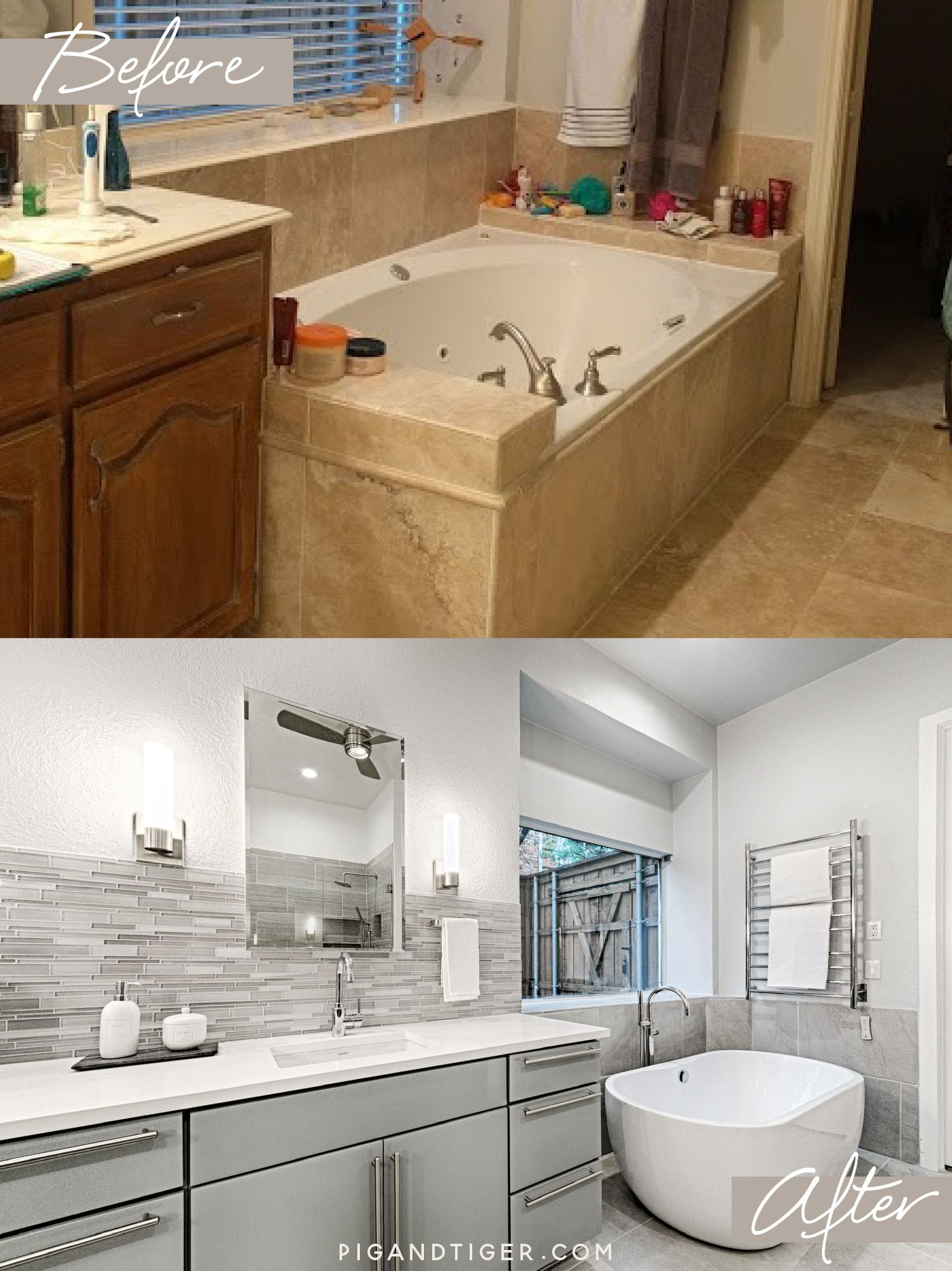 Bathroom Remodel With Freestanding Tub And Tub Filler Pig And - Bathroom remodel plano tx