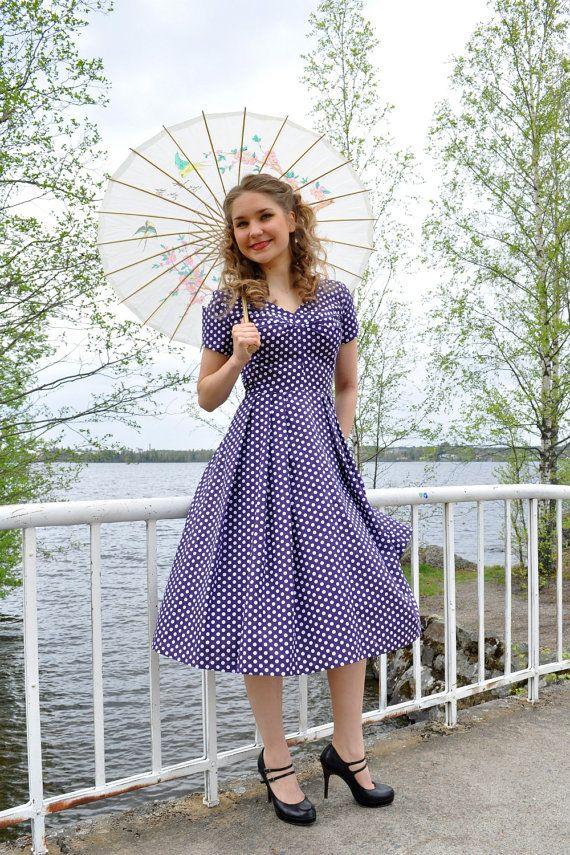 Polka dot dress 50s style, purple cotton with white polka dots dots ...