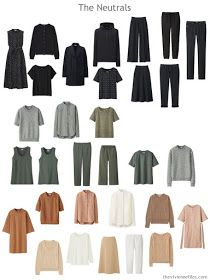 a wardrobe sorted into neutral components