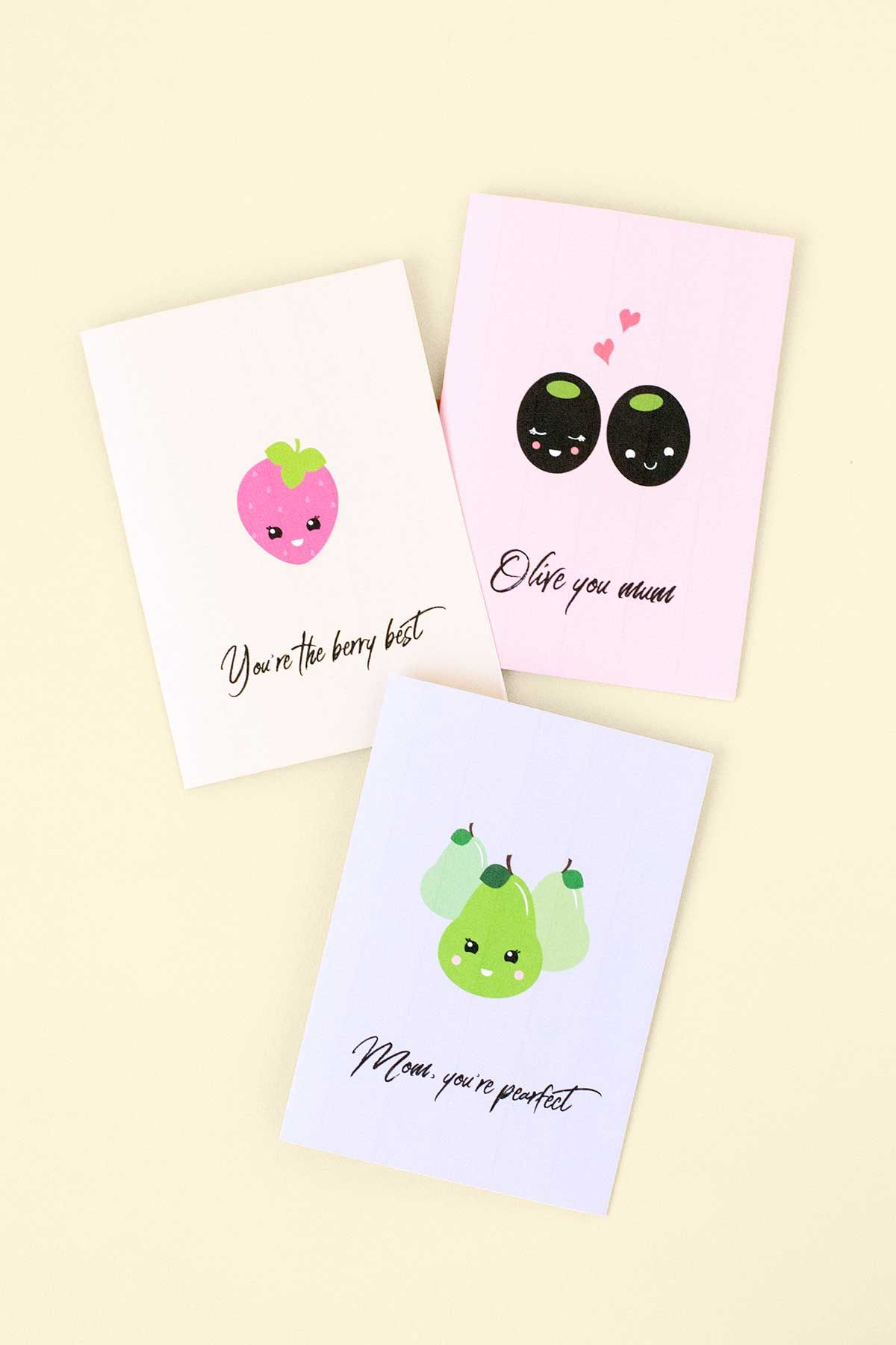 Printable Mothers Day Food Pun Greeting Cards