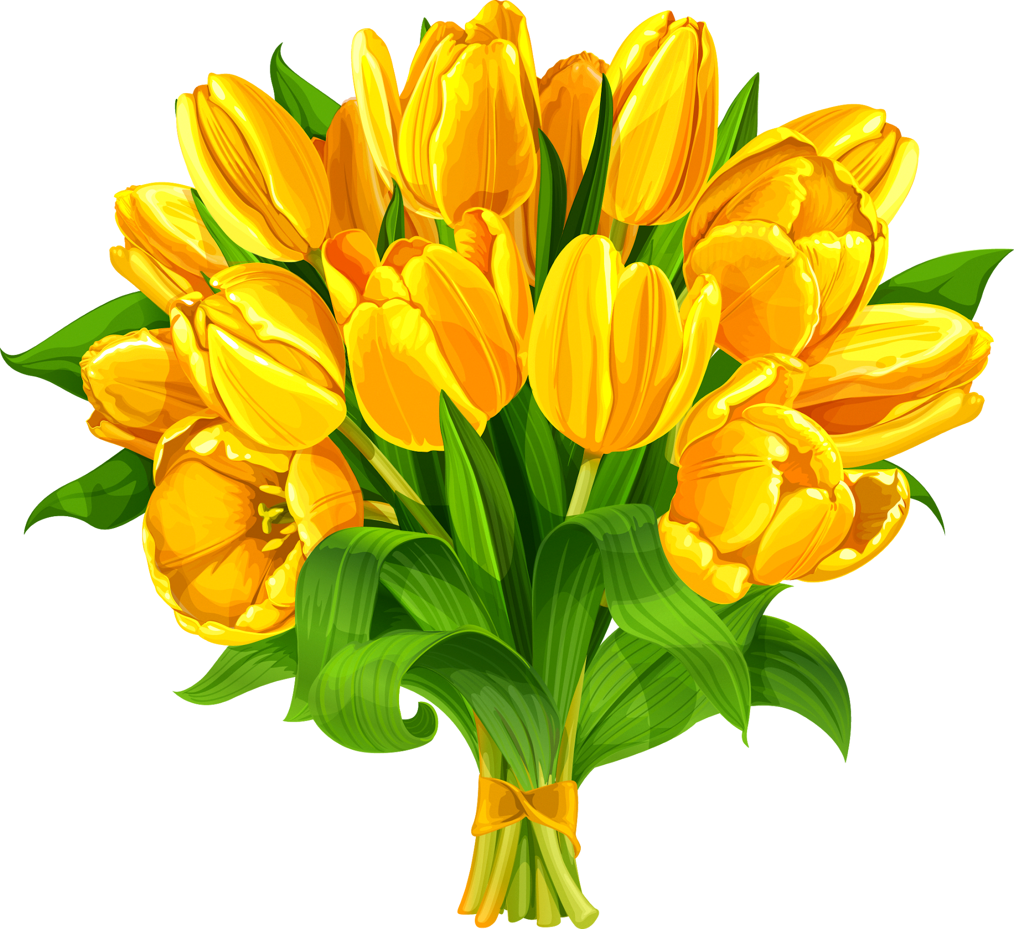Tulip Flower bouquet Yellow - Flower bouquet Tulip Clip ... (2048 x 1877 Pixel)