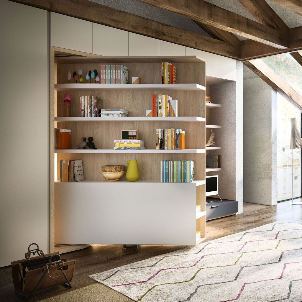 The Lgm Tavolo Is A Queen Size Wall Bed With 35 Linear Feet Of Shelving And A 5 Foot Fold Down Table Shelving Rot Hidden Wall Bed Wall Bed Modern Murphy Beds
