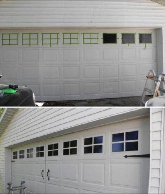 Garage Door Landscaping Ideas: Creating A Faux Carrieged Garage Door.