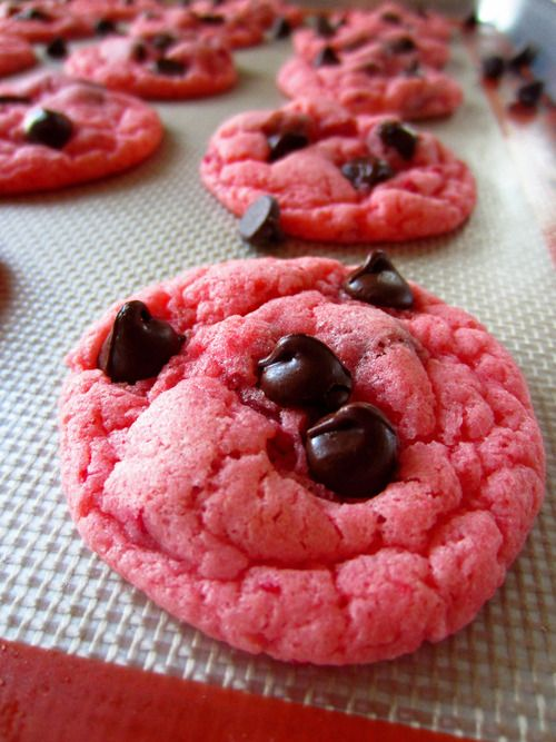Strawberry Chocolate Chip Cookies. Made with cake mix, incredibly easy!