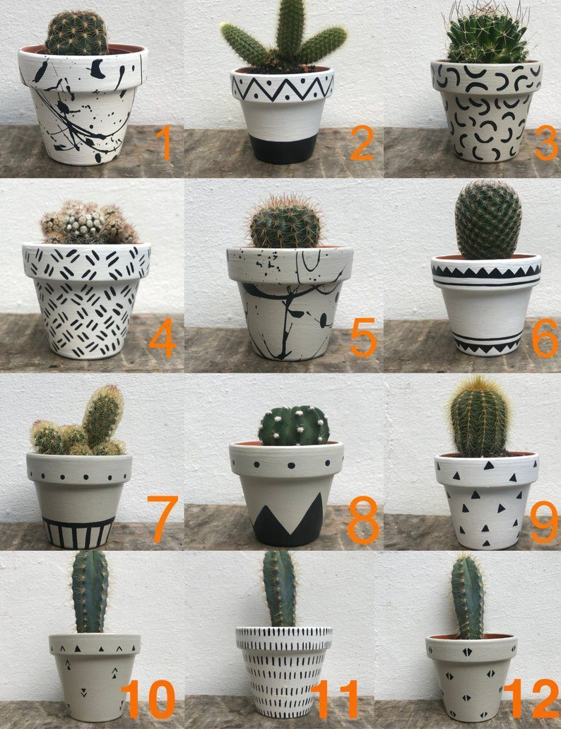 Black Cactus Flower Hand Indoor Mini Painted Plant Planter Pot Succulent White Mini Hand Painted Pl In 2020 Plant Pot Diy Painted Plant Pots Succulent Pots