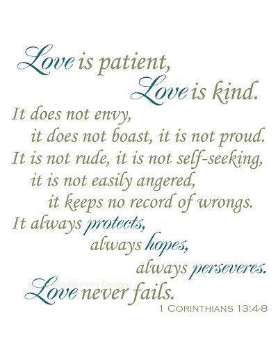 Love Quotes Bible Verses Wedding Love Is Patient Love Is Kind Bible Verse Vinyl Decal Wall Sticker