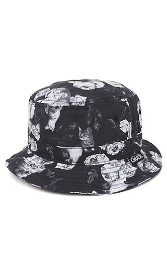 cdd1f46c25a389 PacSun presents the Chuck Cat Floral Bucket Hat. This black and white print  bucket hat