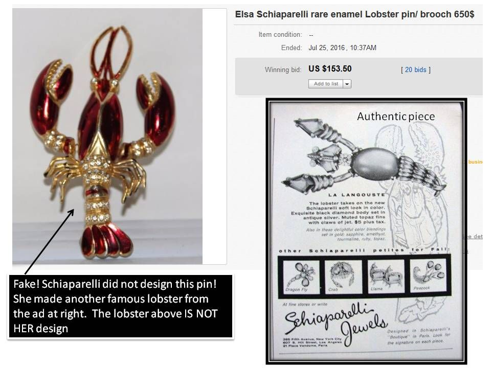 """Fake Schiaparelli lobster sold as by her when if fact, her own """"langostine"""" design can be seen in an actual vintage ad"""