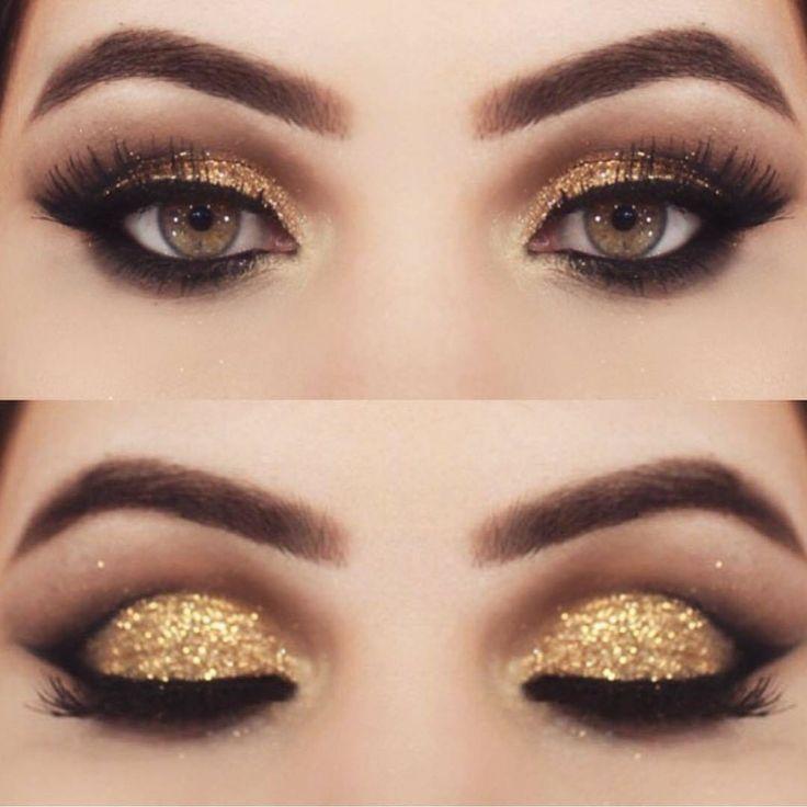 Goldaugenschminke | Bunte Lidschatten-Tutorials für braune Augen  #augen #braune #bunte #christmastips #goldaugenschminke #lidschatten #tutorials #goldeyeliner