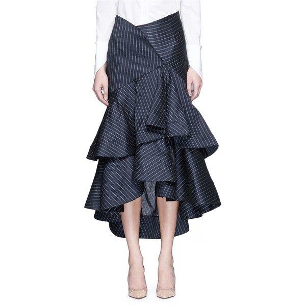 65ad838191c99 Rosie Assoulin  Bidi Bidi Bom Bom  linen pinstripe ruffle skirt ...