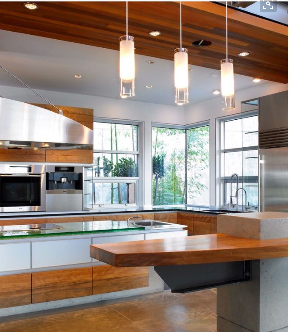 Mixed Materials Cabinets Pendant Lights Jutting Countertop Kitchen Design Contemporary Kitchen Contemporary Kitchen Design