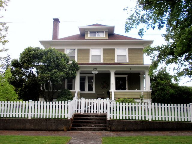 Need a foursquare with a white picket fence dream home for Craftsman style fence