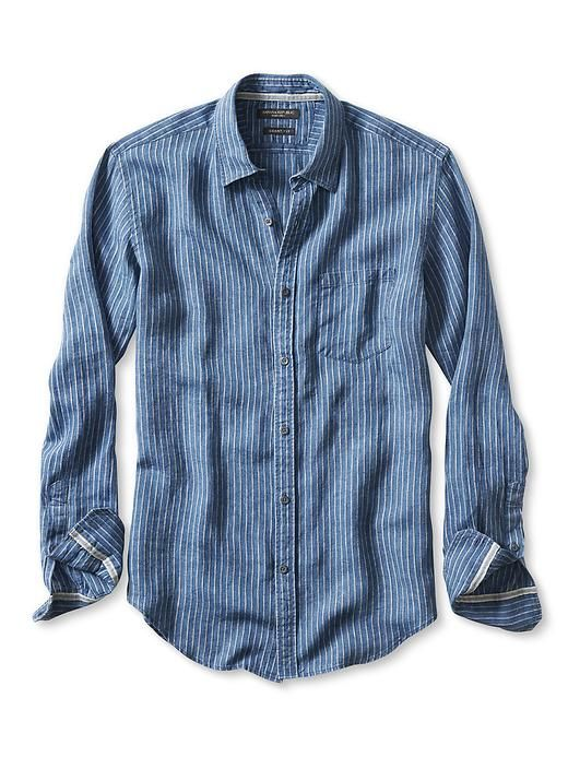 ec3a22a83 Grant-Fit Striped Irish Linen Shirt | Banana Republic | | Rugged to ...