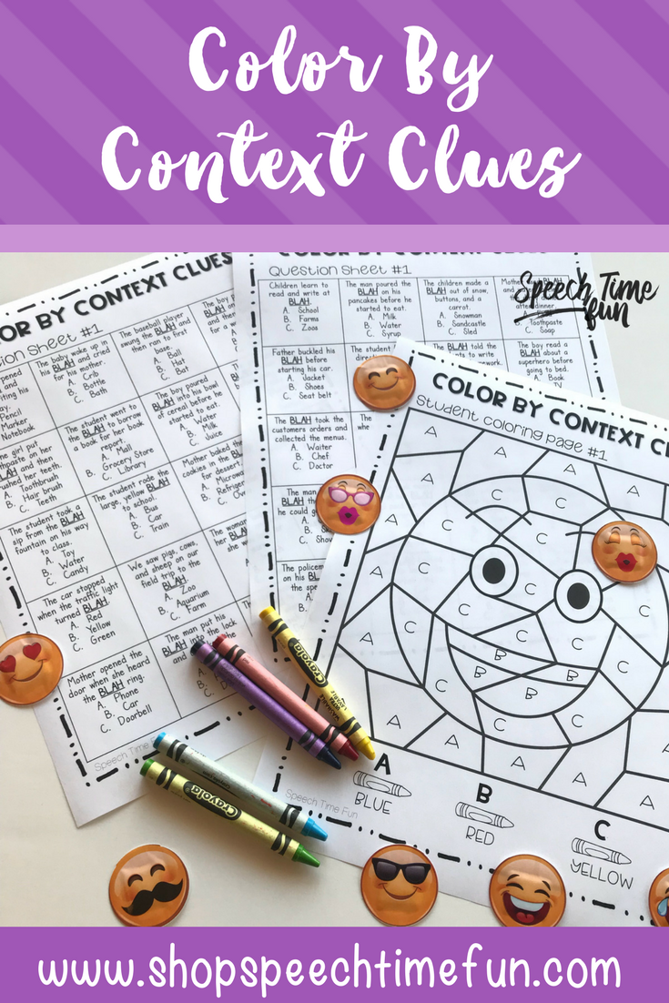Color By Context Clues Context clues, Speech therapy