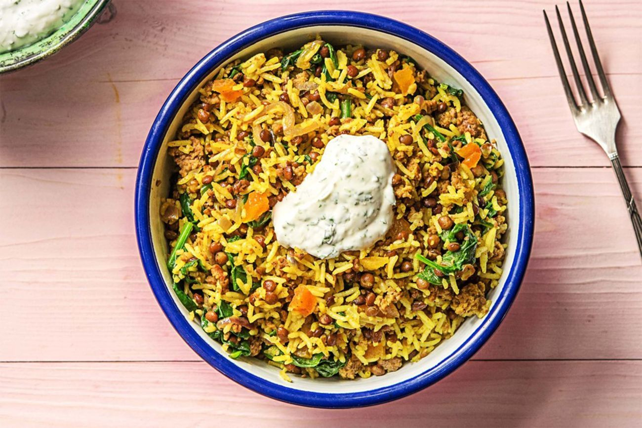 Fragrant Lamb Pilaf With Spinach And Minted Yoghurt
