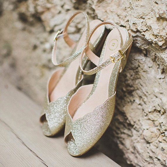 The Ahuva Sparkly Gold Vegan Bridal Flat Sandal Vintage Inspired