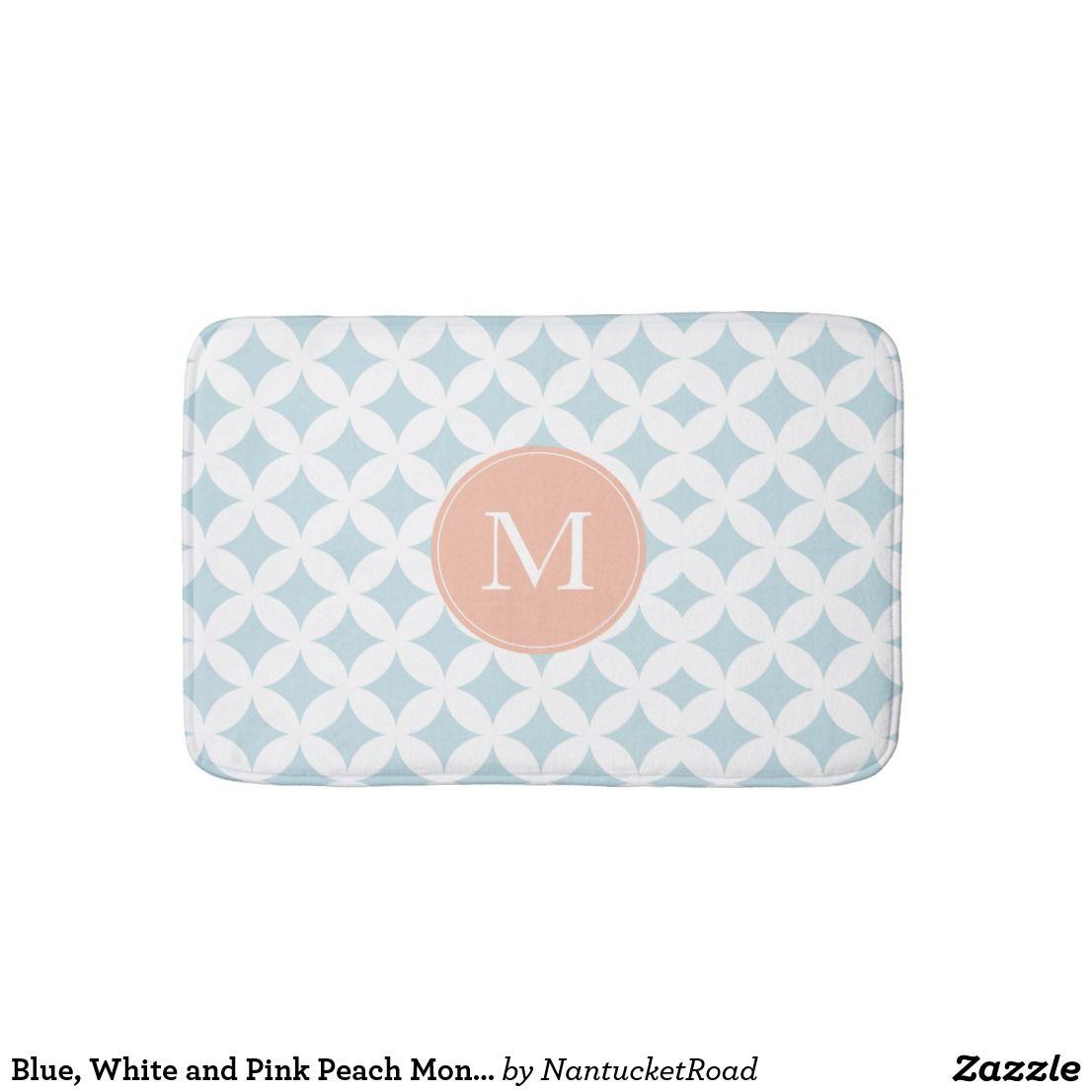 Pink Peach Monogram Bath Mat