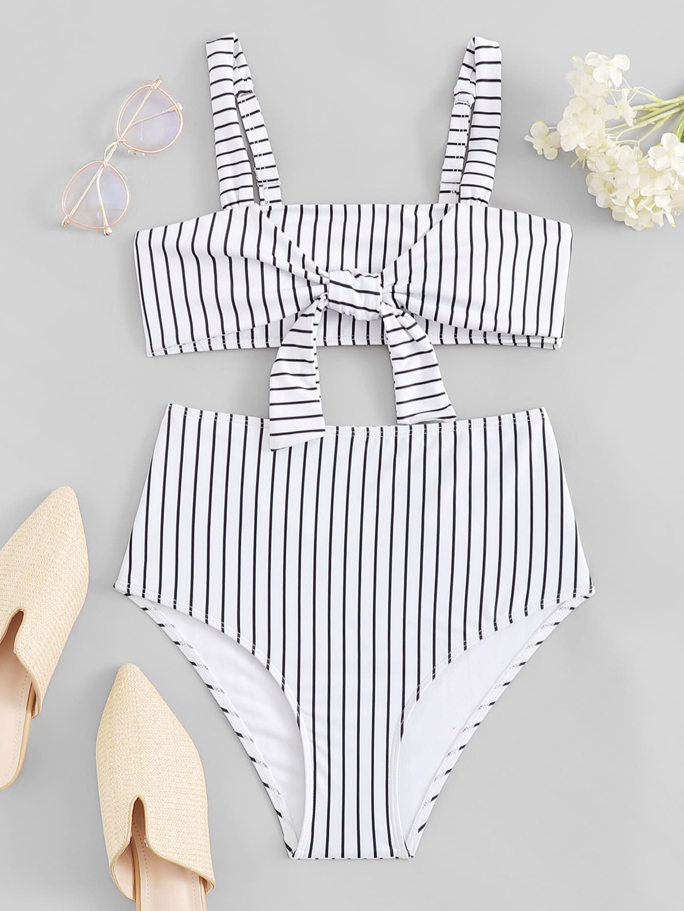 8d7007a694 Random Striped Knot Front Bikini Set -SheIn(Sheinside) | SPRING ...