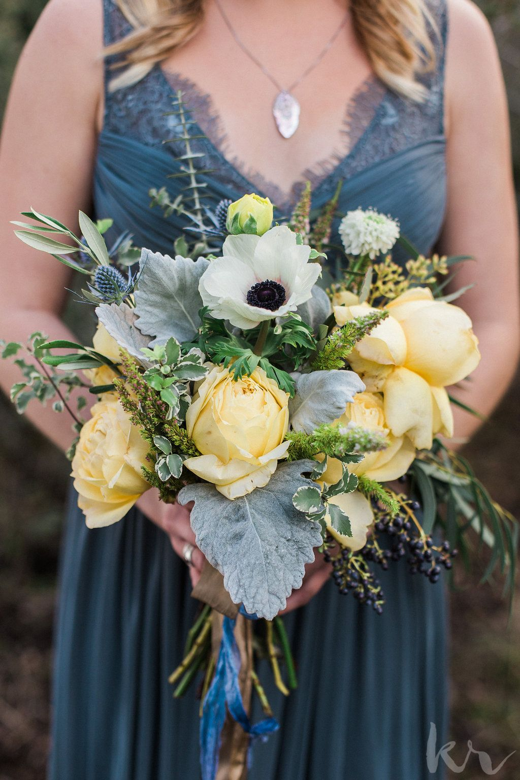 Yellow blue and green bridesmaid bouquets by emlily floral oak