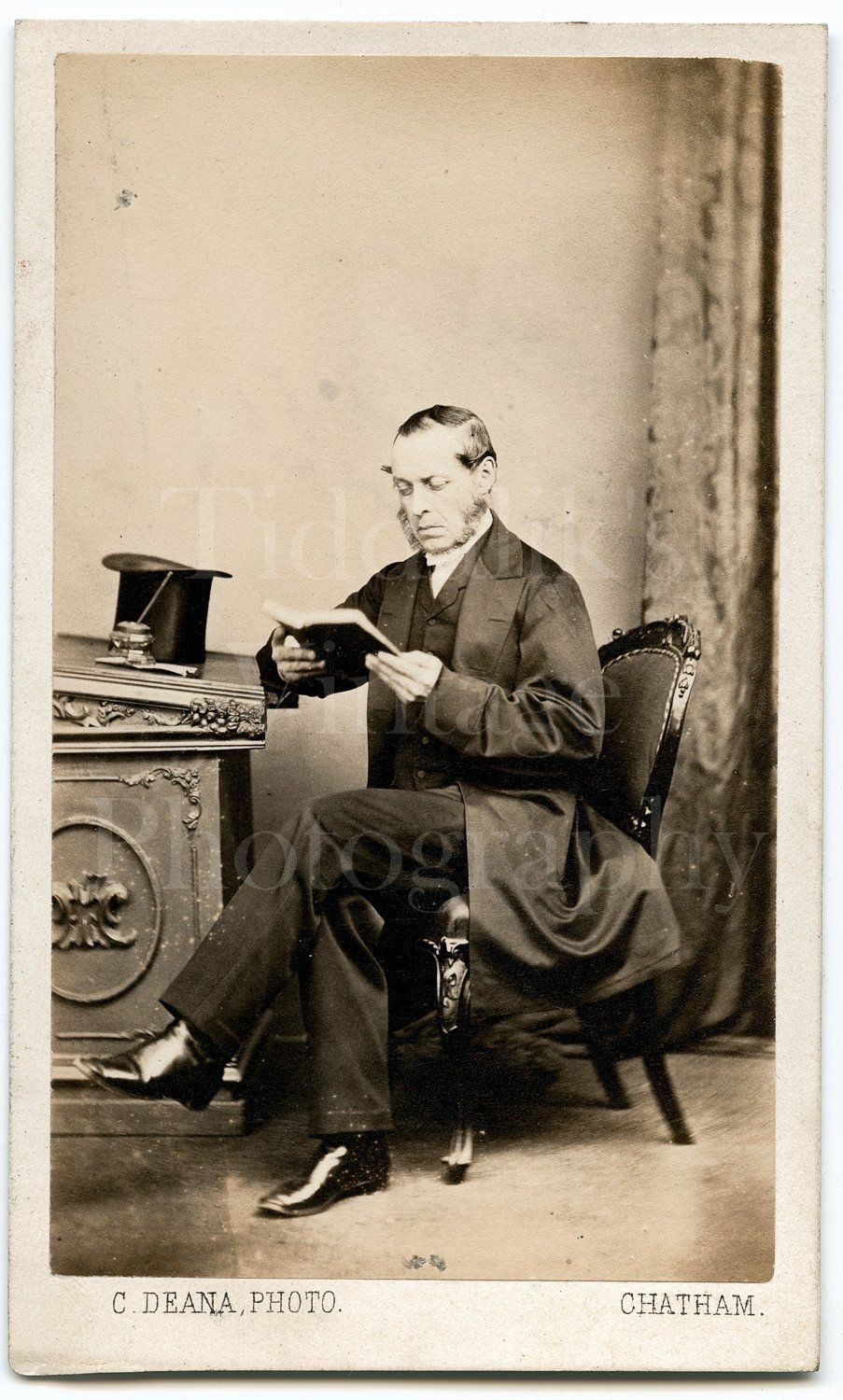 CDV Photo Victorian Man Reading Book Top Hat Portrait Charles Deana Chatham