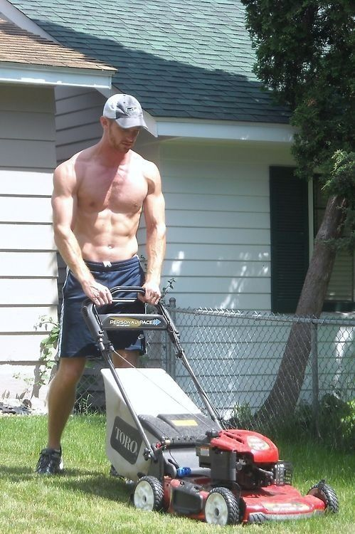 hot neighbor mowing lawn